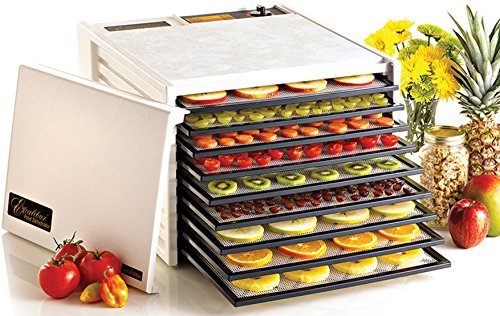 Excalibur 3900W 9-Tray Electric Food Dehydrator with Adjustable Thermostat Accurate Temperature Control Faster and Efficient Drying Includes Guide to Dehydration Made in USA, 9-Tray, White ()
