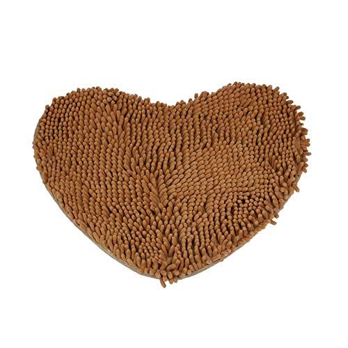DFHDSF Area Rugs Bedroom Door Mat Heart Shaped Carpet Fluffy Chenille Rug Cushion ()
