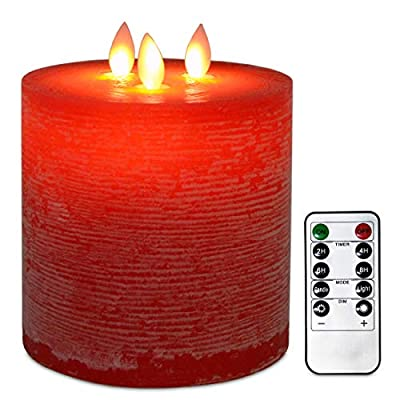 TELOSMA 3-Moving Wick Large Flameless Pillar Candles with Remote Control and Dimmer Flickering Function, Battery Operated Flat Top in Red: Home & Kitchen