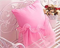 Auvoau Home Textile Elegant Design Pastoral Style Floral Lace Princess Bedding Set Girly Ruffle Duvet Cover Fashion Exquisite Butterfly jewelry Bed Skirt Twin Full Queen King Size 4PC (Twin, Pink)