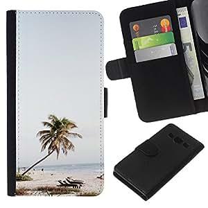 EJOY---La carpeta del tirón la caja de cuero de alta calidad de la PU Caso protector / Samsung Galaxy A3 / --Árbol Sillas de playa Mar Azul Cielo