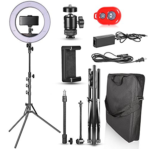 Emart 14 inch Bi-color LED Ring Light Photography with Stand - Ultra Thin Innovation, 40W Dimmable & Color Temperature Adjustable Circle Makeup Lighting Kit for iPhone Selfie, Shooting YouTube Video by EMART