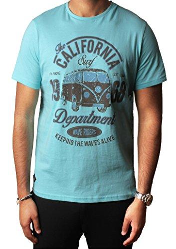 Herren Grafik Sortiert Foto drucken T-shirts Designer Baumwolle oben South Shore S-XXL,Engel Blau,M