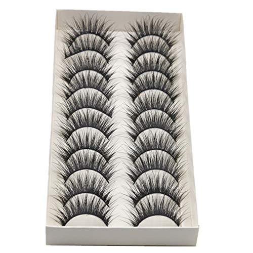 GCIYAEN 10 Pair/Lot Thick Long Crisscross False Eyelashes Fake Eye Lashes Flexible Wispy False lashes for Beautiful Natural Looking Black (10 Pair)]()
