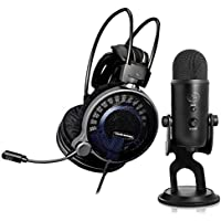 Audio Technica ATH-ADG1X Gaming Headset with Blue Microphones Yeti 16-bit USB Microphone (Blackout)