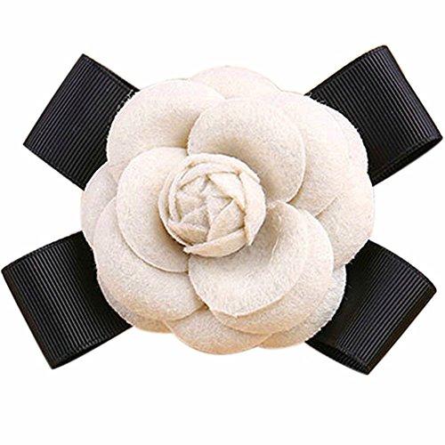 80Hou Elegant Wool Camellia Flower Brooch Vintage Bow Floral Pin Women Wedding Party Gift-Beige by 80Hou