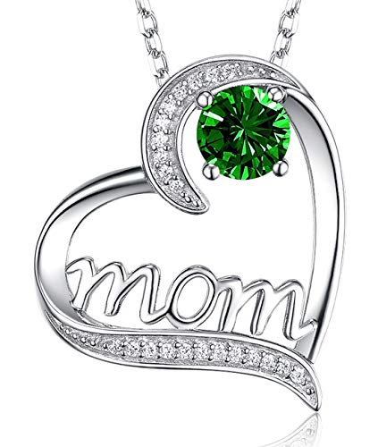 (❤️ I Love You Mom ❤️ May Birthstone Green Emerald Necklace Birthday Gifts for Mom Sterling Silver Jewelry Love Heart Pendants Necklace Wife for Women Mothers from Daughter 20