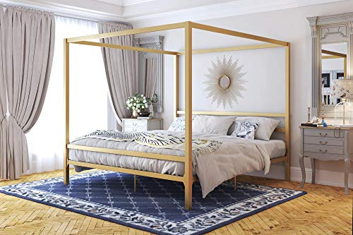 Amazon Com Dhp Modern Canopy Metal Bed Gold King