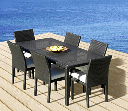 Outdoor Patio Wicker Furniture New All Weather Resin 7-Piece Dining Table & Chair Set (Resin Dining Table)