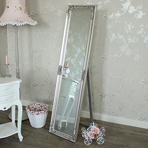Melody Maison Ornate Silver Floor Standing Mirror 41cm x 159cm