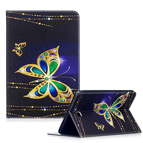 For Samsung Galaxy Tab A 8.0 SM-T350 Case,Funyye Beautiful New 3D Pattern Premium PU Leather with Magnetic Clouse Flip Folio Book Stand Case for Samsung Galaxy Tab A 8-Inch Tablet SM-T350-Gold Butterflies