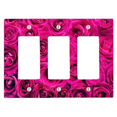 Pink Roses Pattern 3 Gang Decorator Dimmer Wall Plate (6.34 x 4.5in) ()