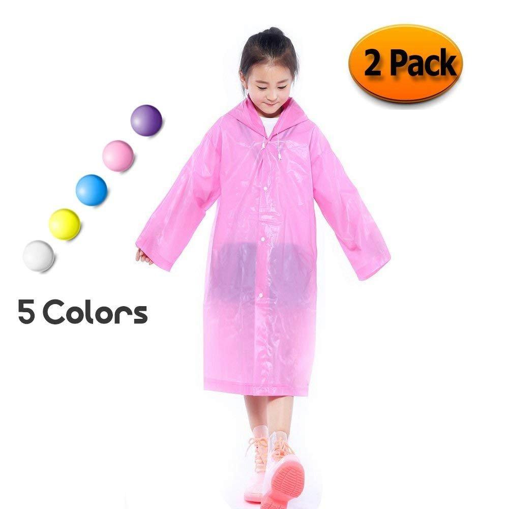 Segorts Kids' Emergency Portable Rain Ponchos(2 Pack) - Thicker EVA Rainwear with Drawstring Hood & Sleeve Ends for Travel Camping (Pink)