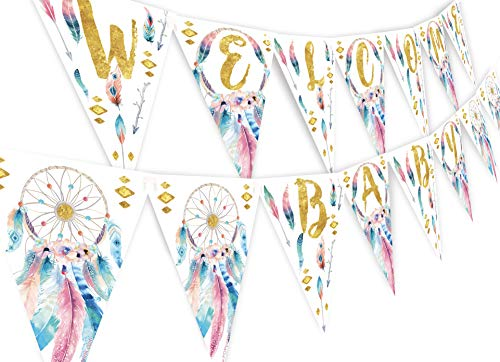 (Boho Welcome Baby Banner Pennant - Wild One Shower Banner - Boho Shower Decorations - Boho Shower Supplies - Welcome Baby)