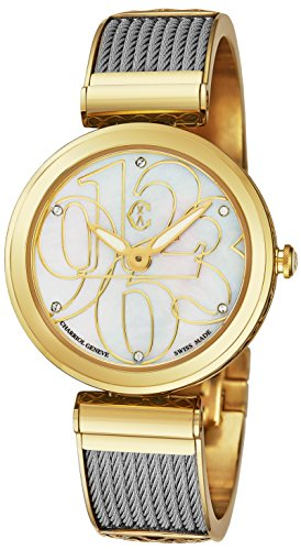 (Charriol 'Forever Mixed Numerals' Womens Watches Yellow Gold Stainless Steel - 32mm Analog Mother of Pearl Face Ladies Dress Watch - Twisted Cable Bracelet Luxury Swiss Watch for Women)