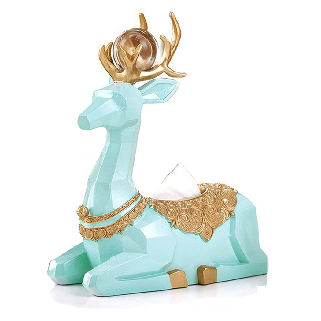 HONGNA European Deer Wine Cabinet Decoration Ornaments Home Accessories Living Room Coffee Table TV Cabinet Tissue Box Display Modern Minimalist 271435cm (Color : Cyan)