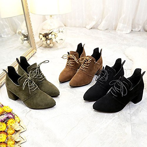 Boots Comfort Winter ZHZNVX HSXZ Women's Army Heel Army Pointed Black Toe Green Shoes Block Green Khaki Casual PU for wxIXxYFS