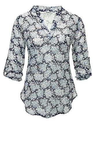 Hailys Camisas - Túnica - Floral - Cuello MAO - Para Mujer: Amazon.es: Ropa y accesorios