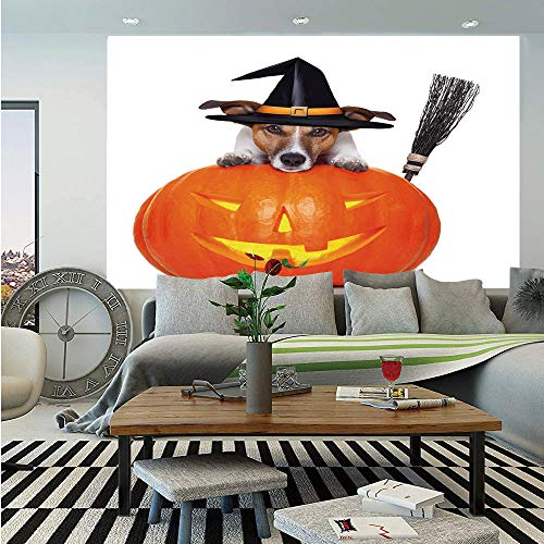 SoSung Halloween Wall Mural,Witch Dog with a Broomstick on Large Pumpkin Fun Humorous Hilarious Animal Print,Self-Adhesive Large Wallpaper for Home Decor 83x120 inches,Multicolor]()
