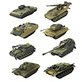MagiDeal 8 Pieces 4D Modern Tank Model 1:72 Heavy Tank Sand Table Model Wargame Game