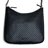 MicroGuccisima Black Large Hobo Leather Bag Buckle Top zip Purse Italy New