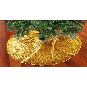 ShinyBeauty 48-Inch Embroidery Sequin Christmas Tree Skirt, Gold
