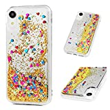 iPhone XR Case, Clear Liquid Glitter Mirror Case Bling Shiny Sparkle Flowing Moving Love Hearts Drop Resistant Shockproof Soft TPU Bumper Shell Ultral Slim Protective Cover for iPhone XR - Rose Gold