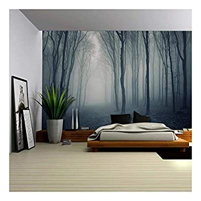 Grand Piece of Art, Professional Creation, Leaf Covered Pathway in an Ominous Forest Wall Mural