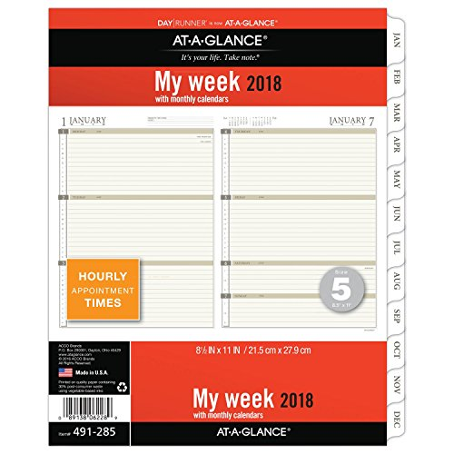 AT-A-GLANCE Day Runner Weekly Planner Refill, January 2018 - December 2018, 8-1/2