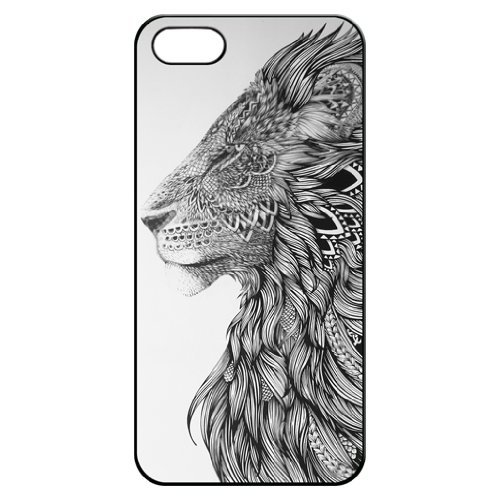 Lion Head Art Hard Back Iphone 5 5s Shell Case Cover Skin for Iphone 5/5s Cases - (Nike White Headphone)