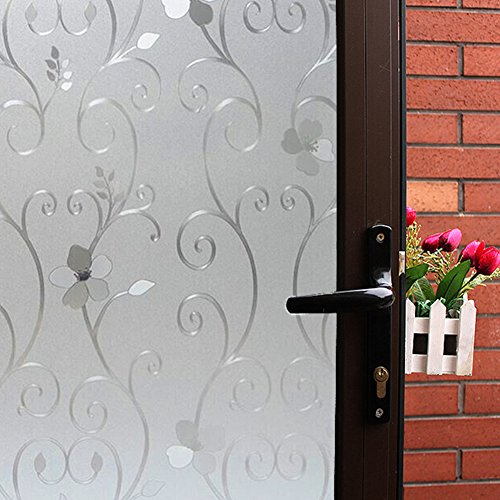 3D Flower Privacy Window Film Frosted,Translucent Decorative Glass Door Film,No Adhesive Stained Glass Window Decor,Static Cling/Vinyl/Heat Control/Anti UV For Home and Office,17.5 In. By 78.7In.
