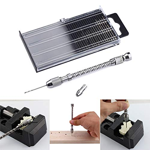 ☀ Dergo ☀ New 21 pcs Mini Micro-Drill Bits Set & Aluminum Hand Drill & Case For Hobby