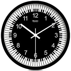 JustNile Piano-Themed Modern Creative Round 12 Non Ticking Silent Glass Wall Clock - Modern Style Good for Living Room & Home & Office // Battery Operated (Black & White)