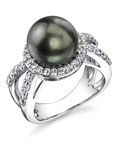 Sterling Silver 10mm Gorgeous Tahitian Cultured Pearl Leah Ring Silver Tahitian Cultured Pearl