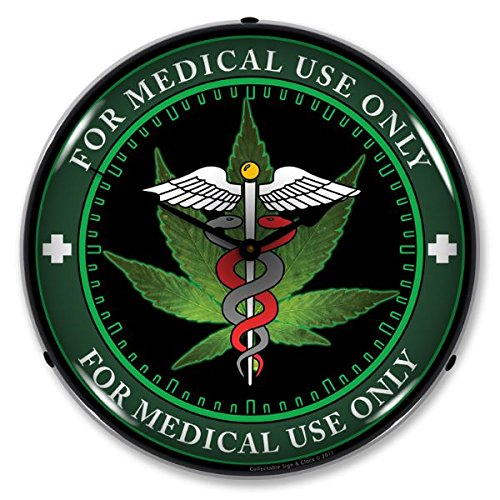 Medical Marijuana Lighted Clock - cannabis wall clocks