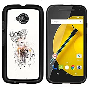 GIFT CHOICE / Teléfono Estuche protector Duro Cáscara Funda Cubierta Caso / Hard Case for Motorola Moto E2 E2nd Gen // Fashion Design Watercolor Dress //
