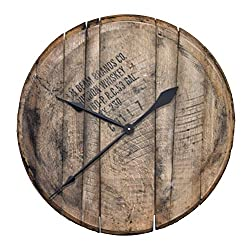 Authentic Reclaimed Bourbon Whiskey Barrel Head Clock - Comes Ready to Hang ... (Natural Oak)