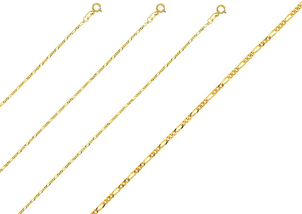 TGDJ 14k Yellow Gold Crucifix Cross Pendant with 1.6mm Figaro Chain Necklace