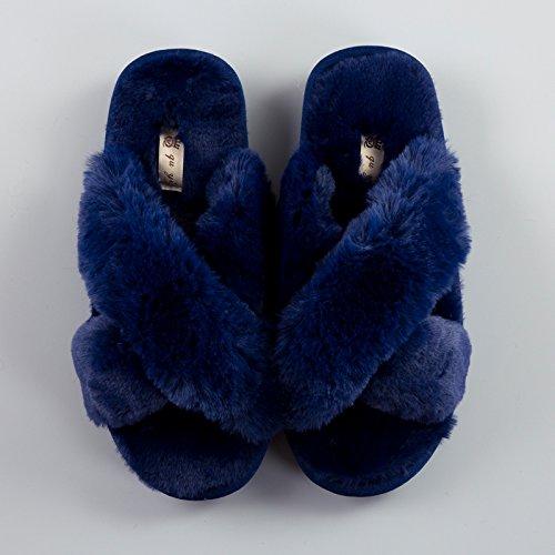 LaxBa Lhiver au chaud, lhiver Chaussons Chaussons moelleux Accueil chaleureux en hiver, chaussures antiglisse Chambre chaussons contre-navy36-37
