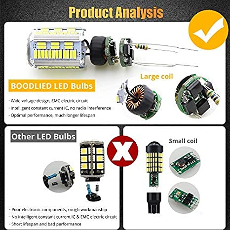 ,Amber//Yellow. BOODLED Pack Of 2 No Hyper Flash Boodlied 9-30V 20Watts T20 7440 W21W LED Bulbs 3600LM Super Bright 4014 105SMD LED Lamps Replacement For Backup Reverse Lights,Turn Signal Lights