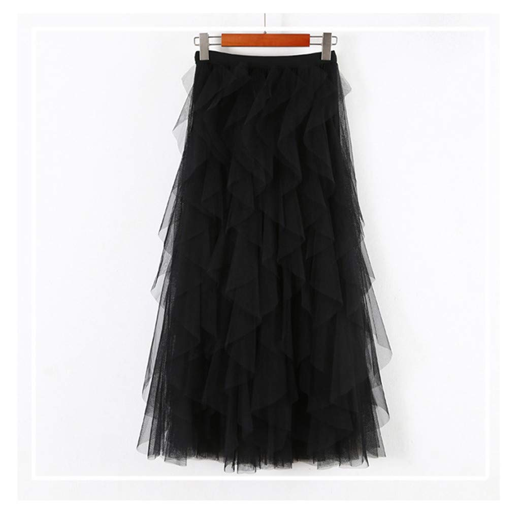 2019 Women A-Line Skirt Princess Long Skirt Tutu Tulle Petticoat Petticoat Basic Irregular Pleated Ball Gown Skirts (Black, Free Size) by Tanlo (Image #5)