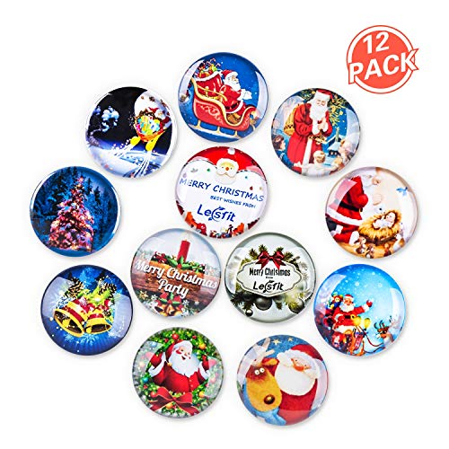 - Christmas Magnets, Lesfit 12 Pack 3D Decorative Glass Magnetic Fridge Magnet for Map, Whiteboard and Refrigerator (1.18 inches)