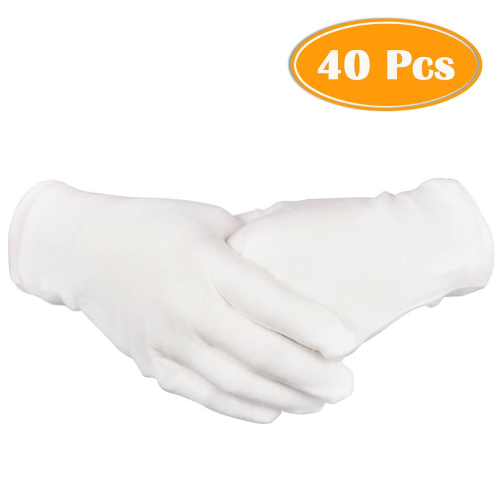 Paxcoo 20 Pairs Large White Cotton Gloves for Cosmetic Moisturizing and Coin Inspection by PAXCOO (Image #1)