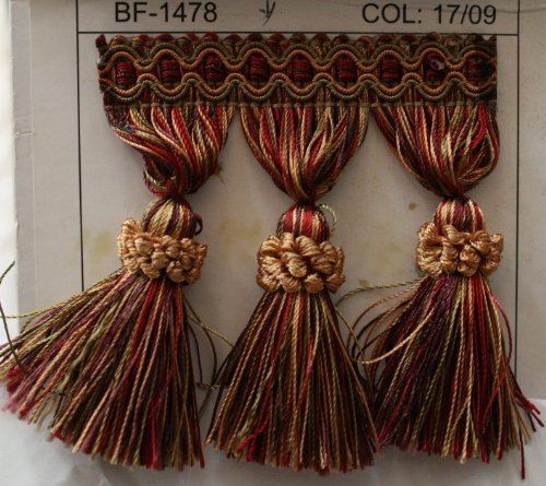 Beaded Tassel Fringe Trim 3.5' Style# Bf 1478 07/19 Red Gold/green Color, Sold By the Yard Fabric Drapery