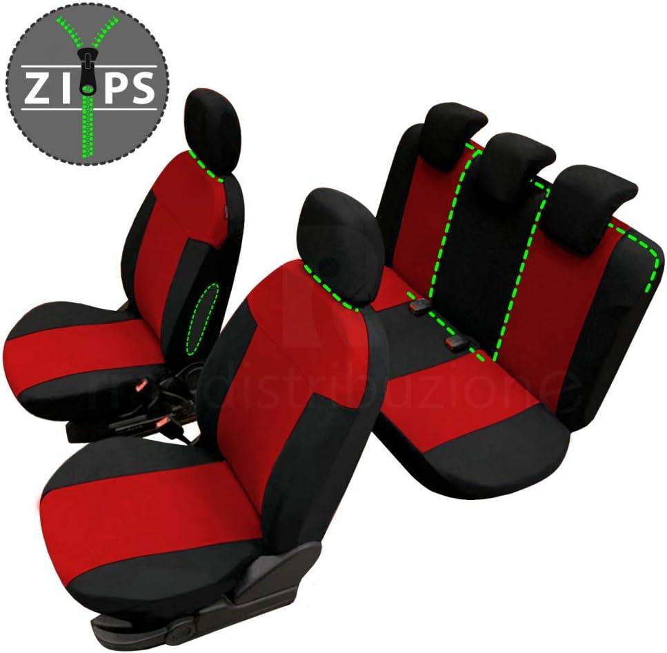 rmg-distribuzione Coprisedili per Panda Versione bracciolo Laterale compatibili con sedili con airbag 1990-2003 sedili Posteriori sdoppiabili Colore Nero Rosso R20S0185
