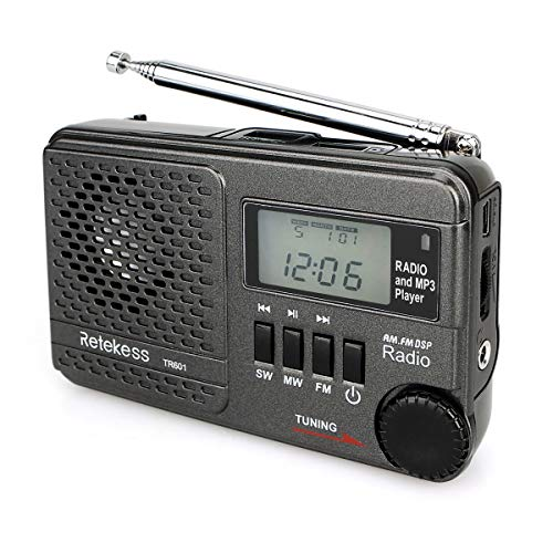 Retekess TR601 Portable Radio Transistor Radio AM FM Shortwave Radio Digital DSP Battery Operated Radio MP3 Player Support SD Card USB Port for Walking Jogging(Black)