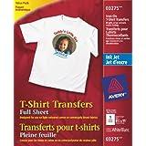 Avery T-Shirt Transfers for Inkjet Printers, White, 12 Pack (3275)