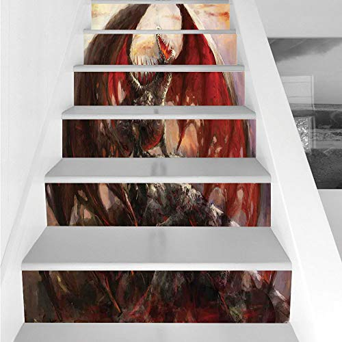 Stair Stickers Wall Stickers,6 PCS Self-adhesive,Fantasy World,Majestic Dragon Resting on Mountain Mythological Fire Spewing Creature Print,Multicolor,Stair Riser Decal for Living Room, Hall, Kids Roo ()