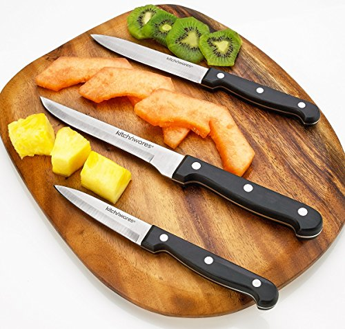Knife Set With Wooden Block - 15 Piece Set Includes Chef Knife, Bread Knife, Carving Knife, Utility Knife, Paring Knife, Steak Knife, Boning Knife, Scissors And Knife Sharpener. - By Kitch N' Wares by Kitch N' Wares (Image #2)