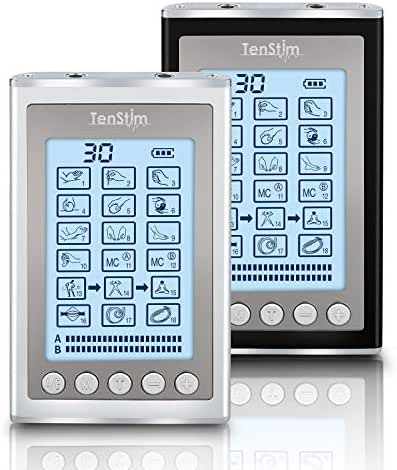 Tenstim Tens Unit Muscle Stimulator - FDA 510K Cleared - EMS Combo Unit - 18 Modes - Dual Independent Channels-Electronic Pulse Massager and Electrode Massage Machine for Pain Relief (Black or Silver)